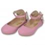 Sapatilha infantil rosa no couro e pérolas formato borboleta - Toke/Kimey