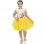 Vestido da Bela e a Fera Saia Amarela de Tule Com Glitter