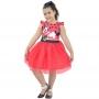 Vestido da Minnie Vermelha Saia de Tule(Tutu) Com Glitter