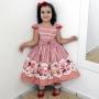 Vestido festa infantil com estampa de cupcake, bolos e doces