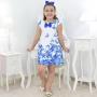 Vestido Infantil Branco Com Borboletas Azuis - Trapézio