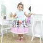 Vestido infantil festa tema das mínis bonecas Lol surprise