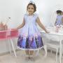 Vestido infantil Frozen 2 com Elsa e Anna - luxuoso