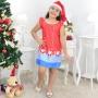 Vestido Infantil Papai Noel Natal Gola Bordada E Gorro