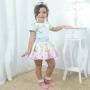 Vestido infantil unicórnios, corações e estrelas cadentes