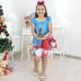 Vestido Papai Noel Trapézio Azul Com Bolsa e Arvore de Montar