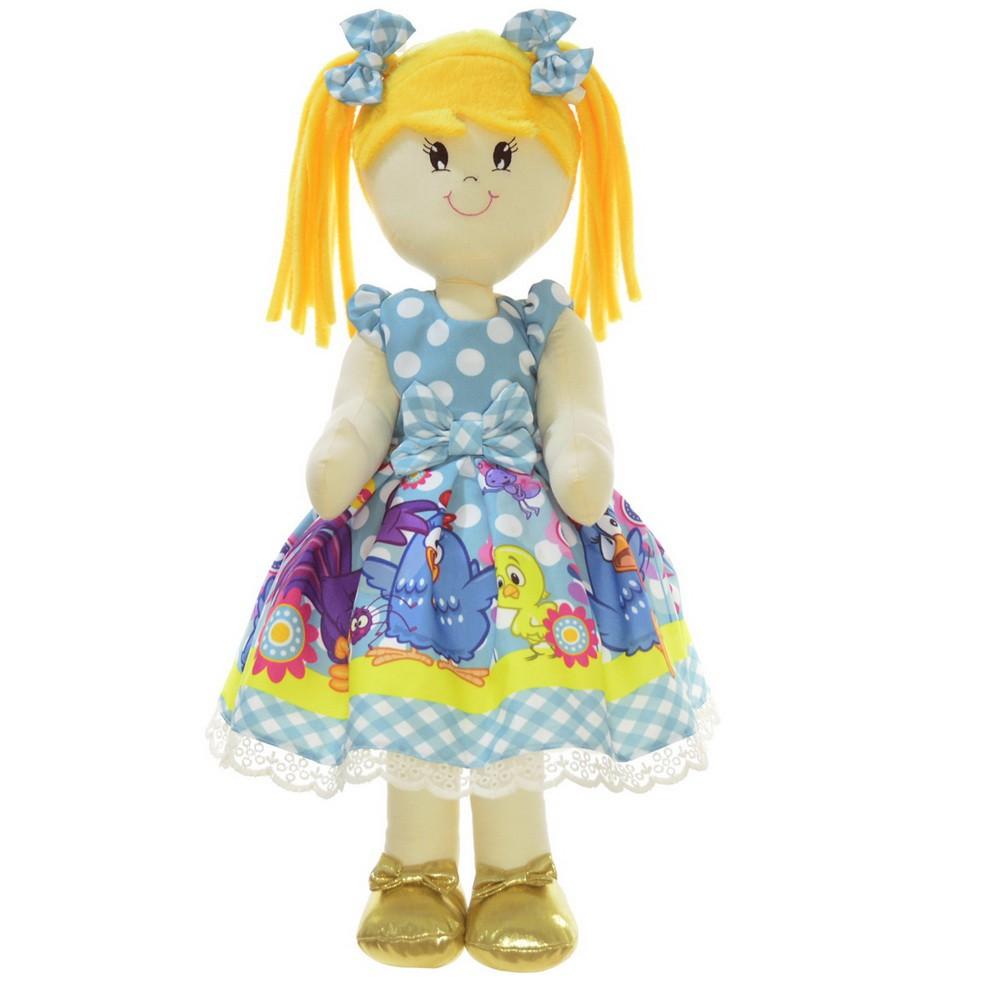Boneca de Pano Helo com vestido no tema galinha pintadinha