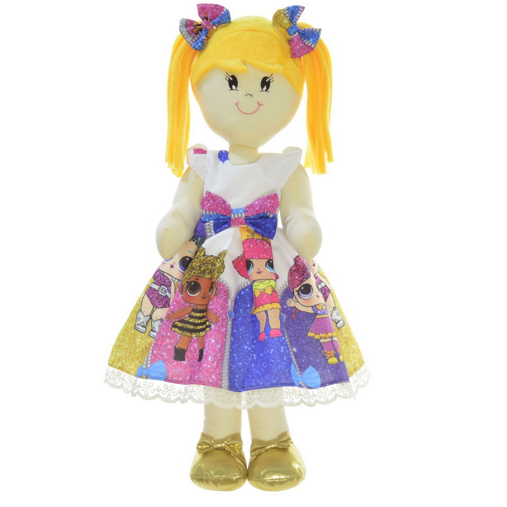 Boneca de Pano Helo com vestido no tema Lol Surprise Under Wraps