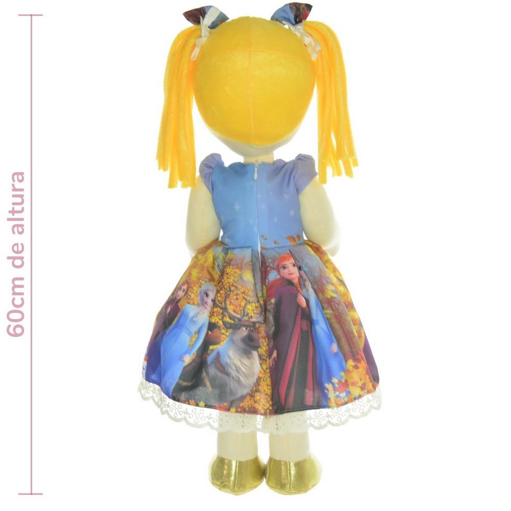 Boneca de Pano Helo com vestido tema Frozen 2 - Elsa e Anna