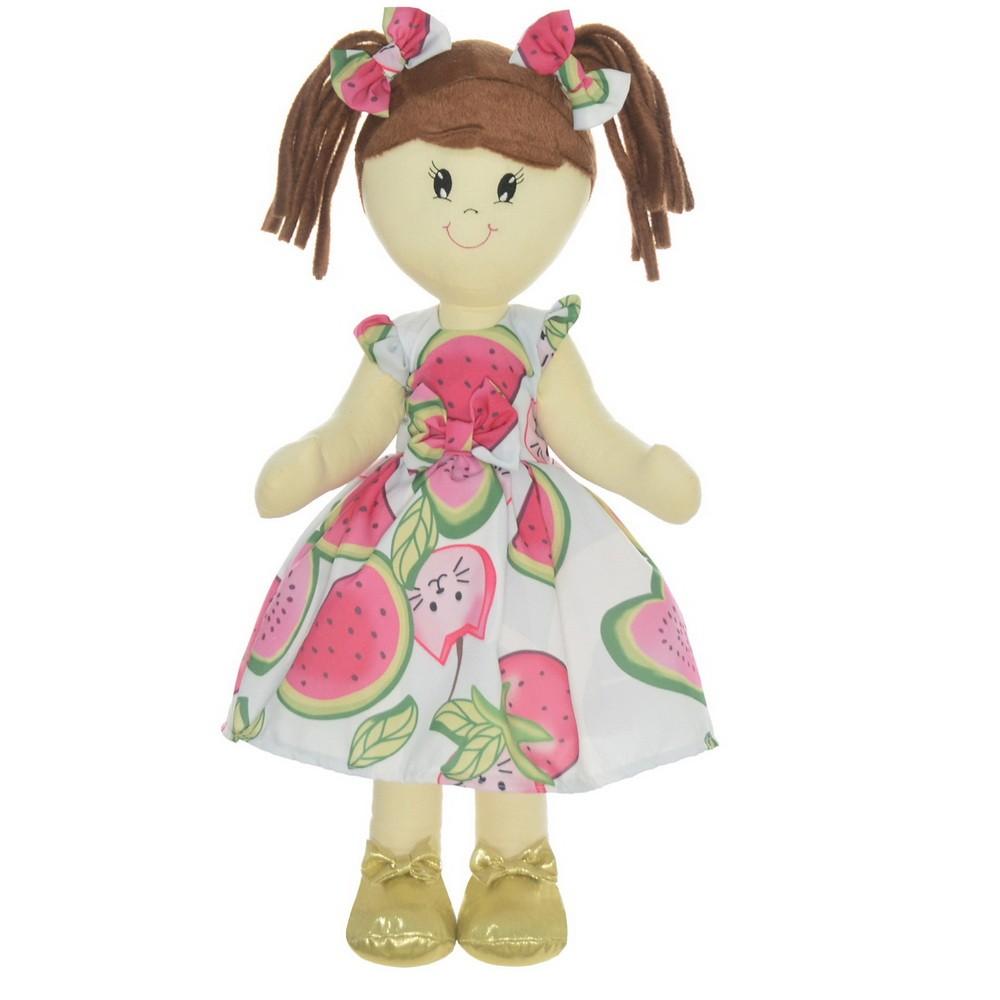 Boneca de Pano Mari com Roupa branco tropical com melancias e morangos