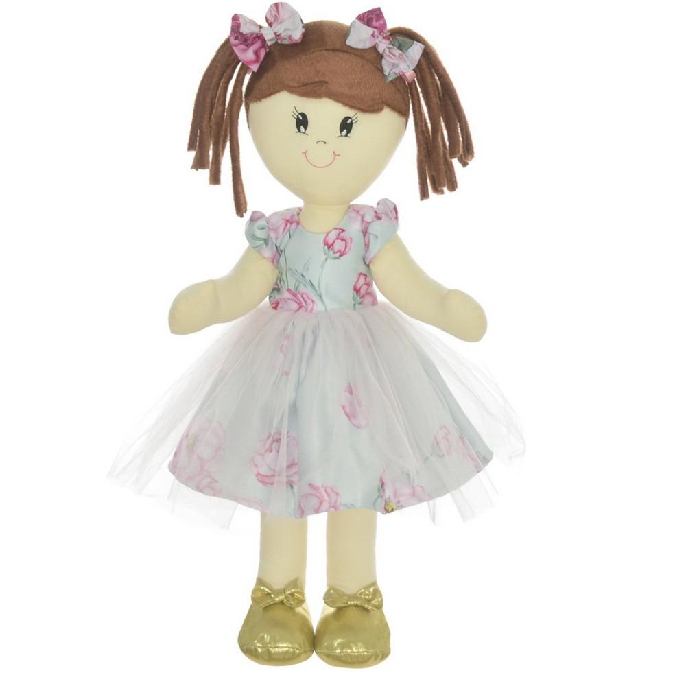 Boneca de Pano Mari com Roupa floral jardim encantado com tule sobre a saia