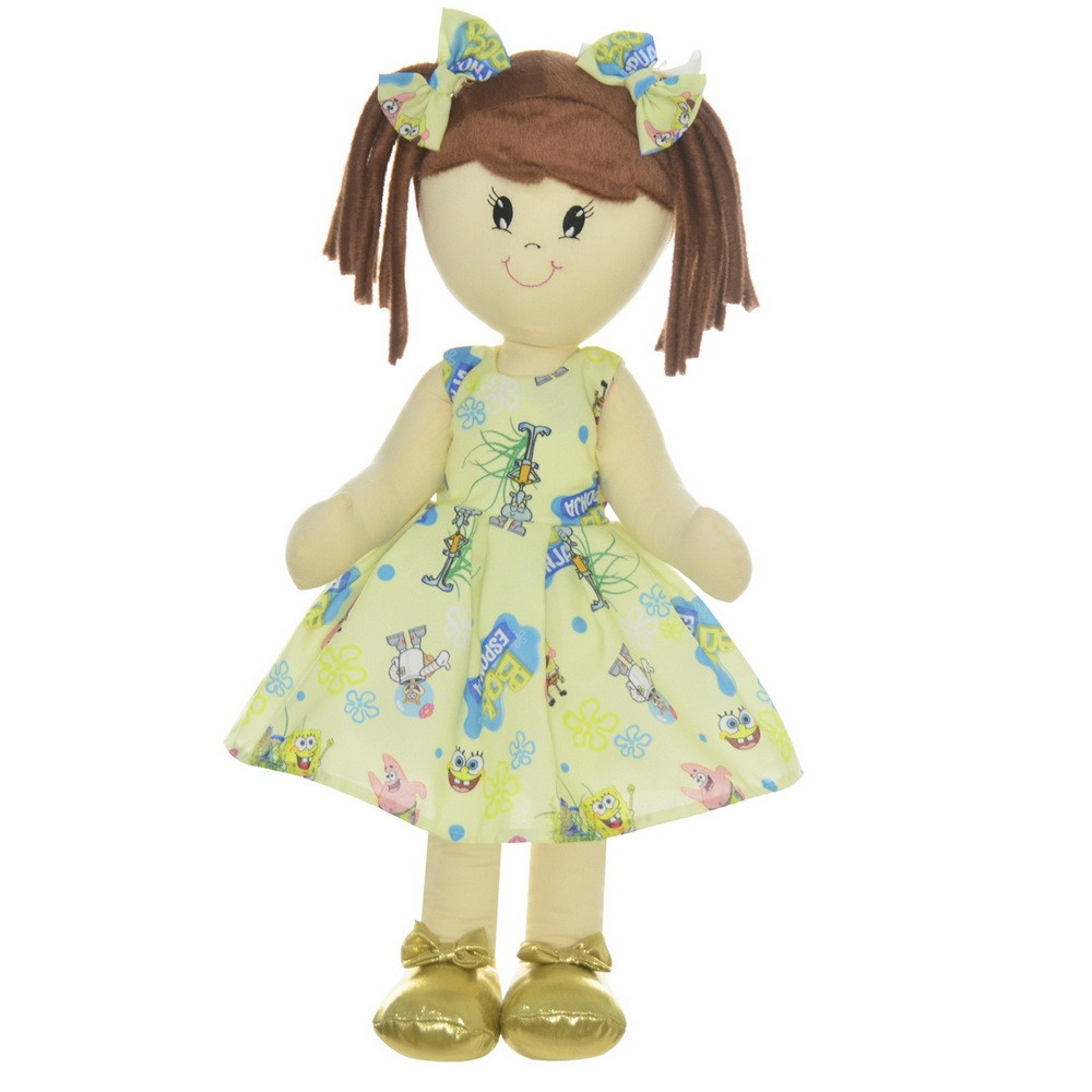 Boneca de Pano Mari com Roupa tema Bob Esponja Amarelo