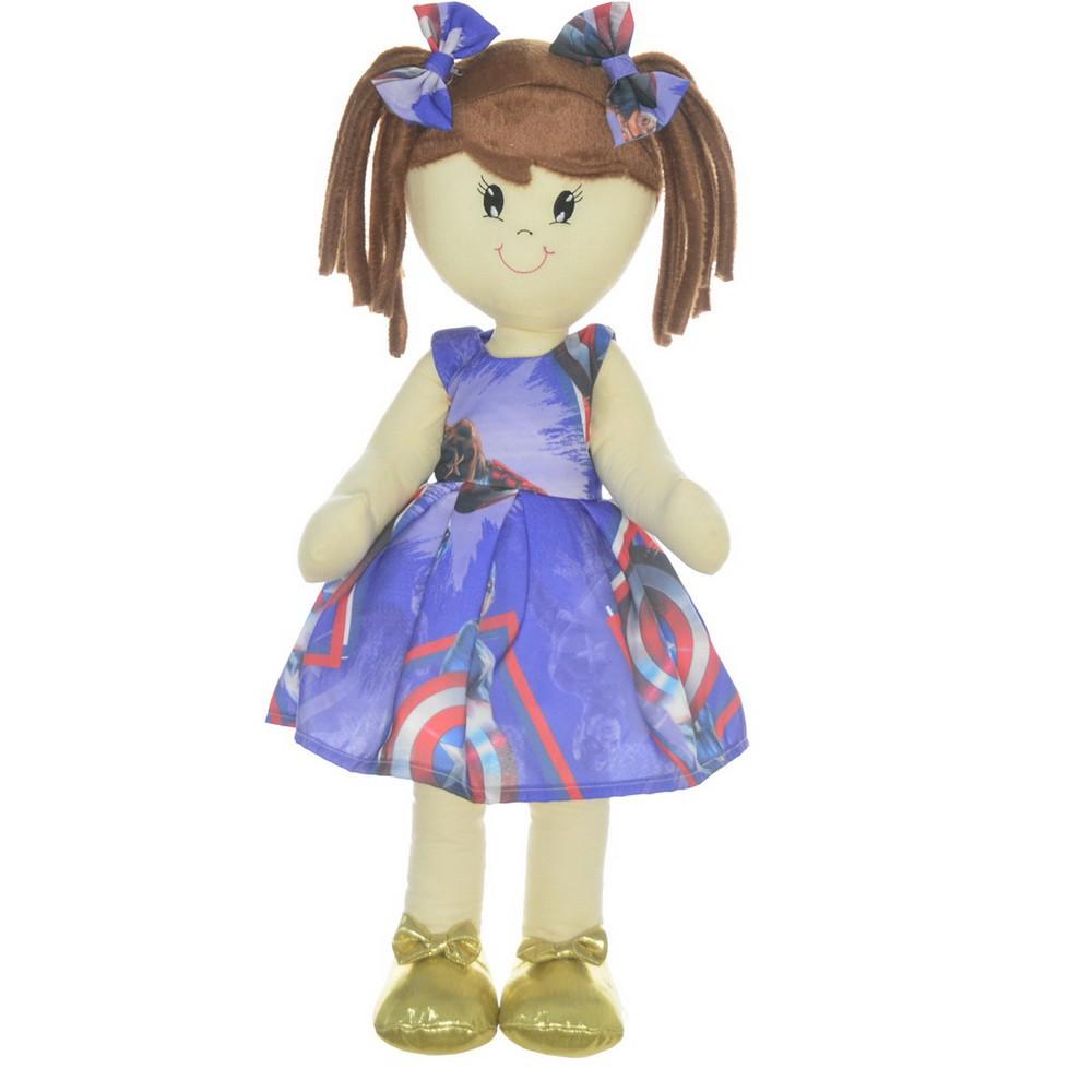 Boneca de Pano Mari com Roupa tema Capitão América