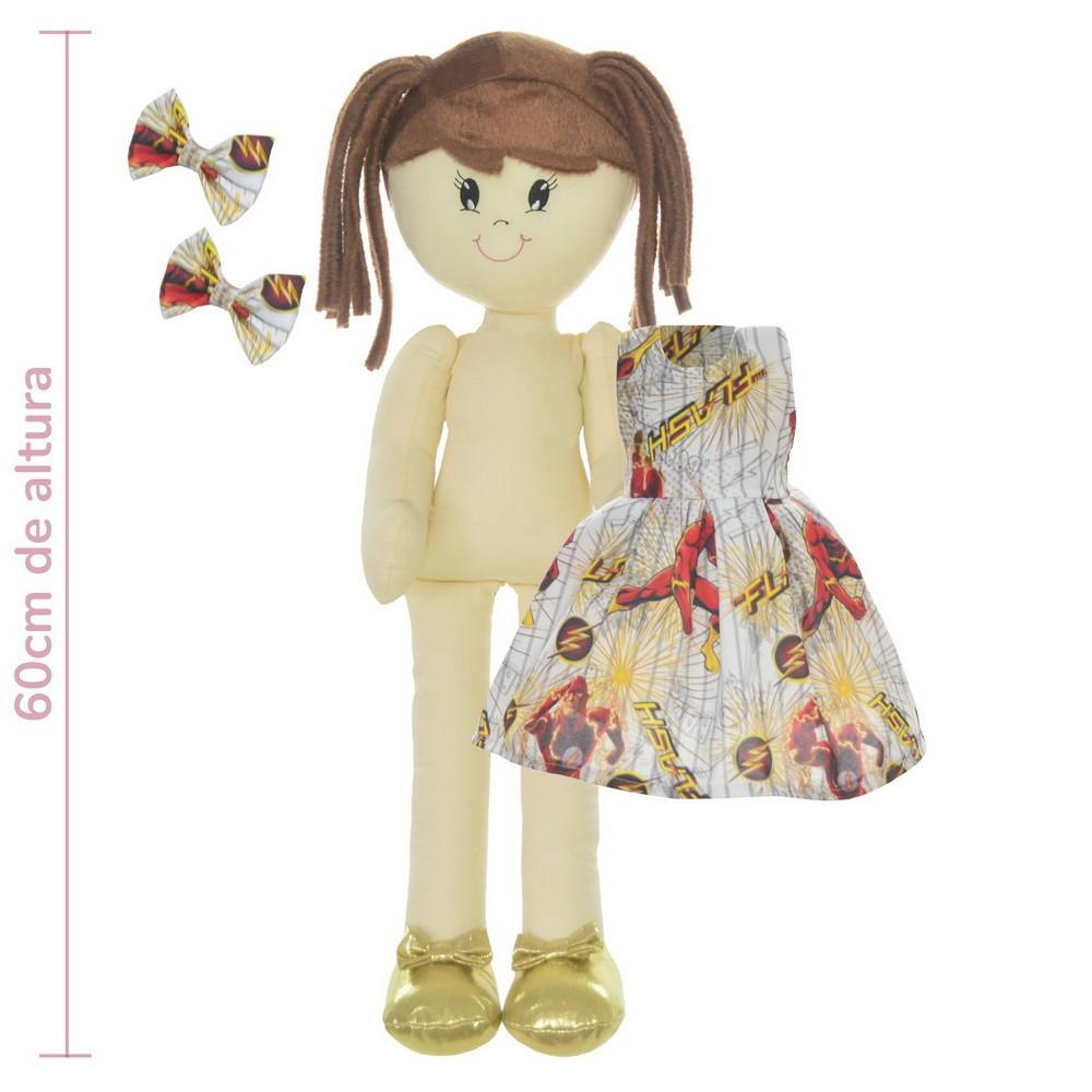 Boneca de Pano Mari com Roupa tema The Flash - DC Comics