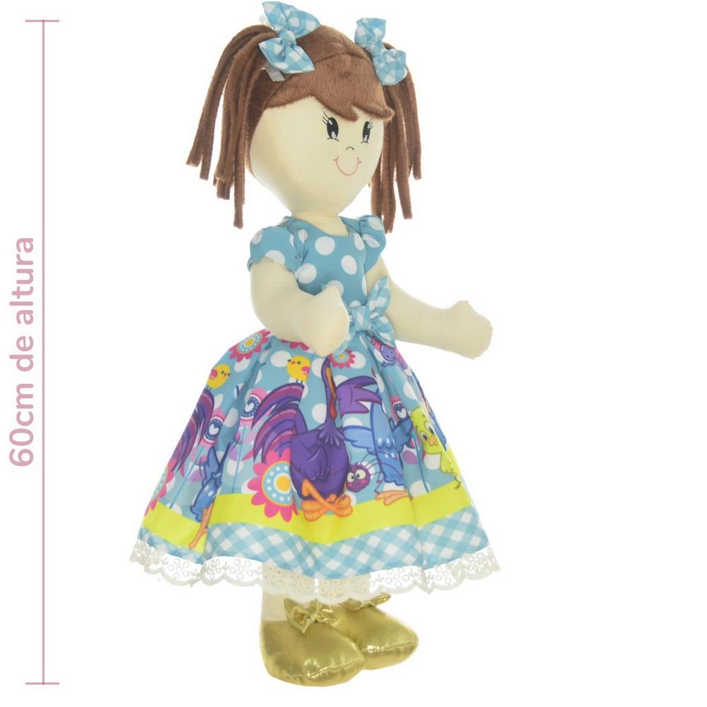 Boneca de Pano Mari com Roupa tema Galinha pintadinha