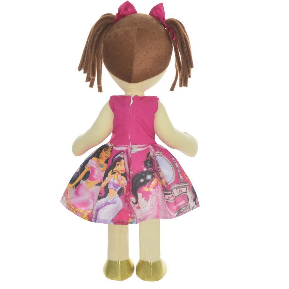Boneca de Pano Mari com Roupa tema Jasmine Rosa