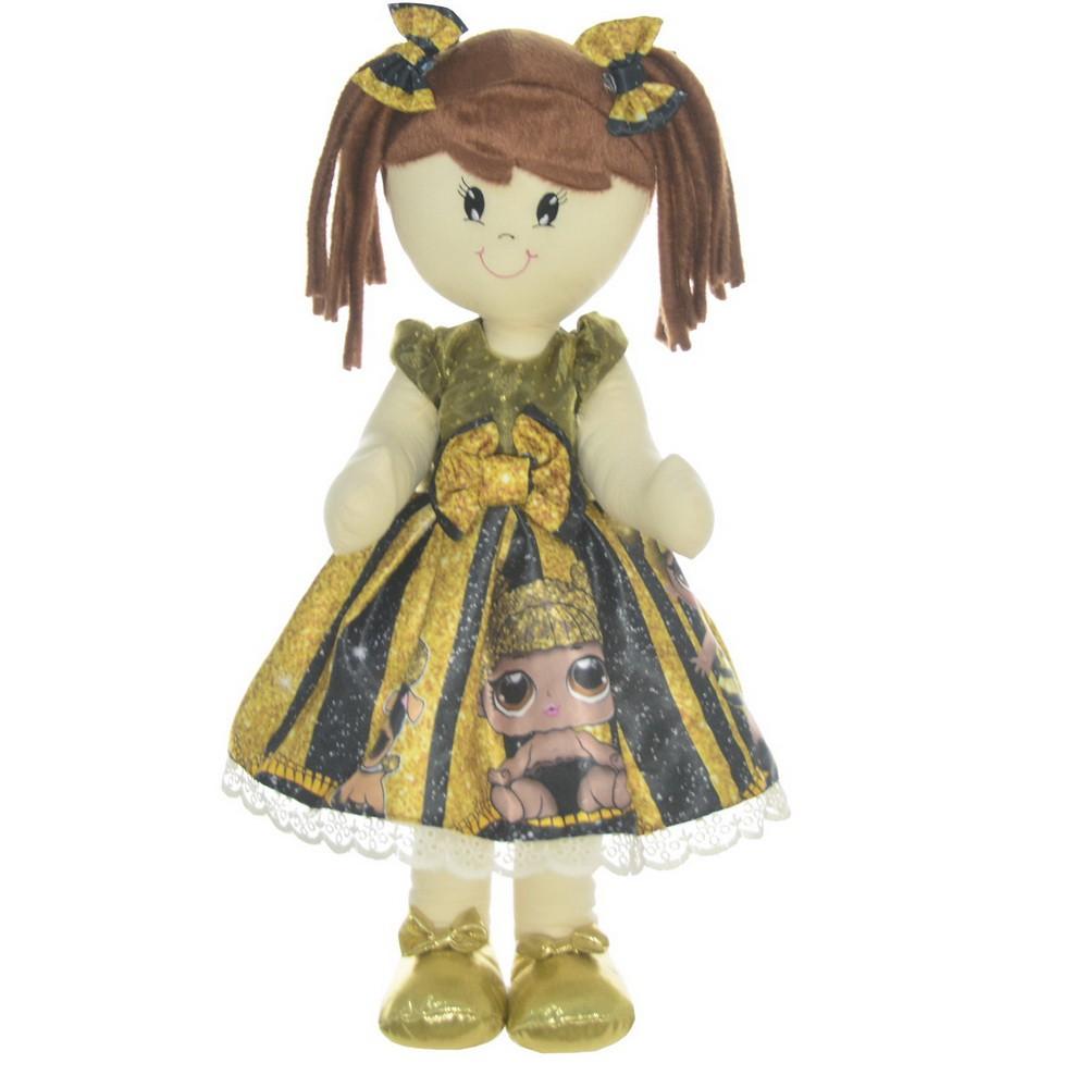 Boneca de Pano Mari com Roupa tema Lol Queen Bee abelhinha