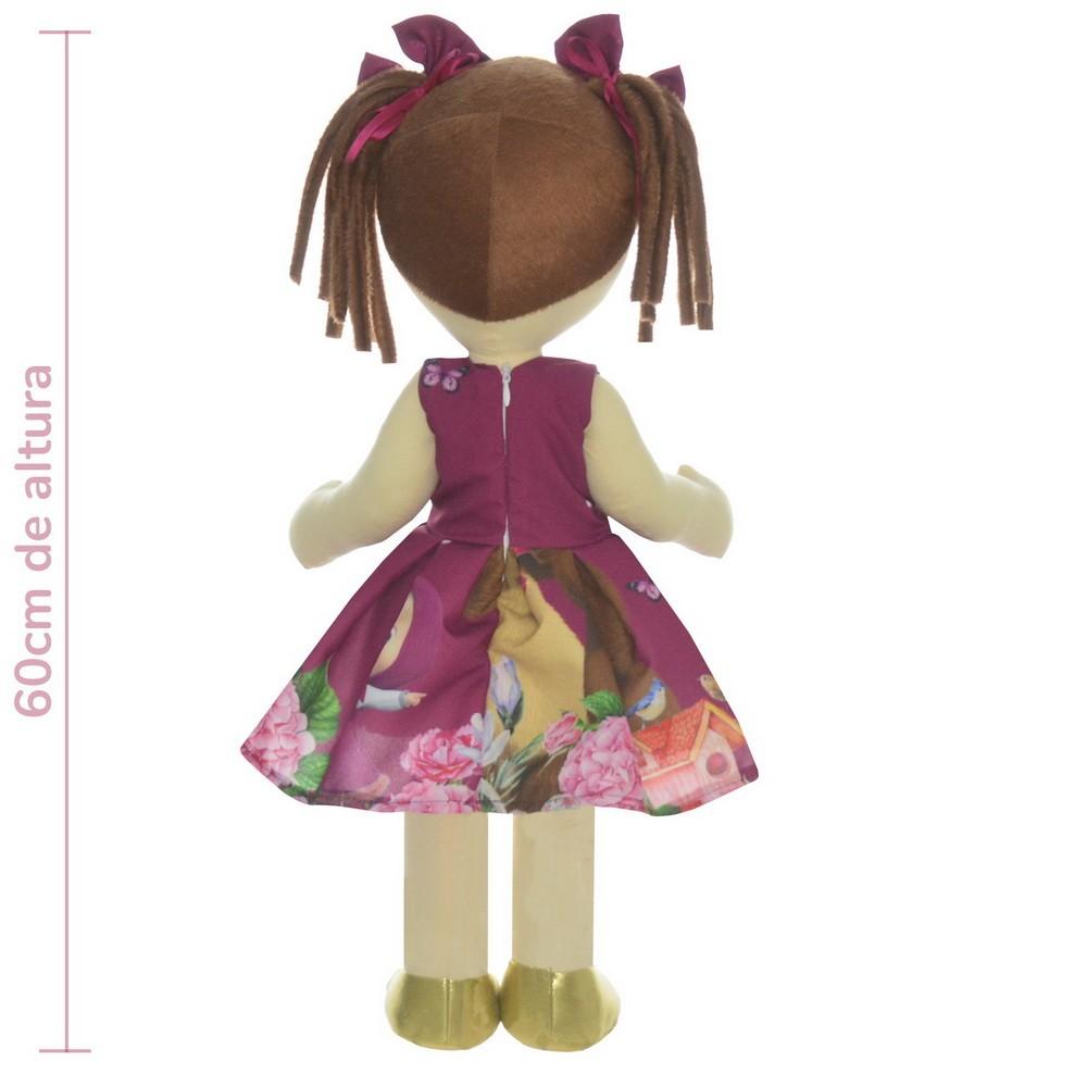 Boneca de Pano Mari com Roupa tema Masha e o Urso na Cor Roxa