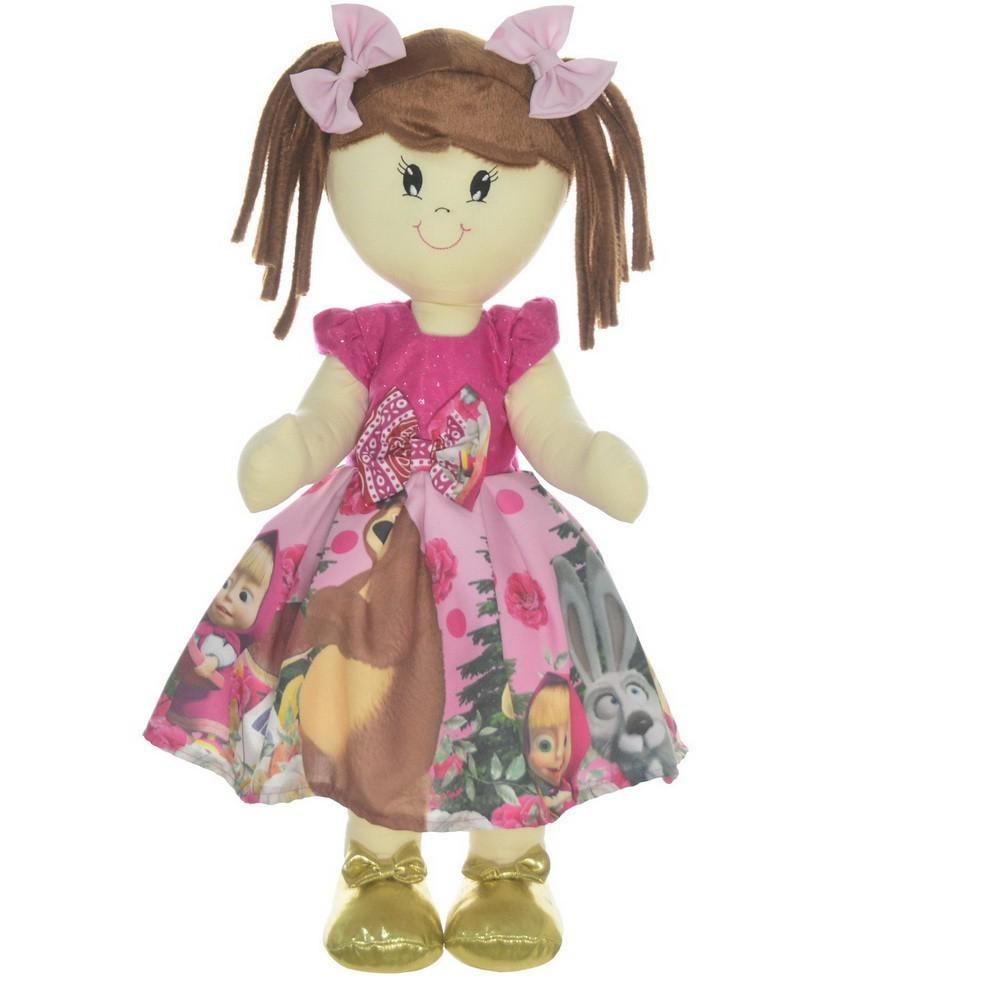 Boneca de Pano Mari com Roupa tema Masha e o Urso Rosa