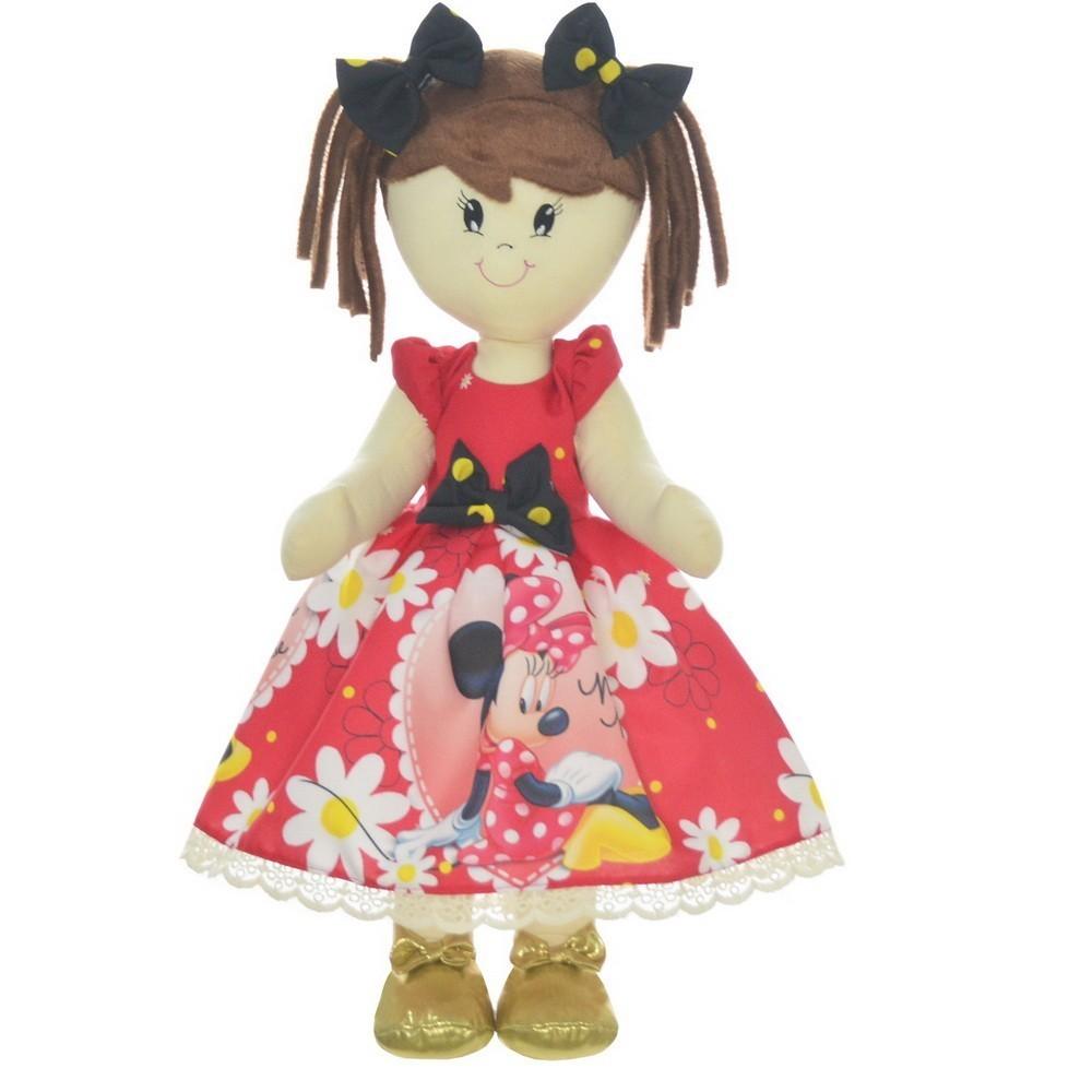 Boneca de Pano Mari com Roupa tema Minnie Vermelha