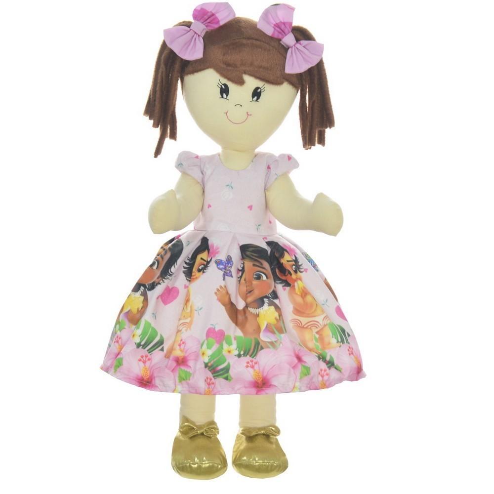 Boneca de Pano Mari com Roupa tema Moana Bebê