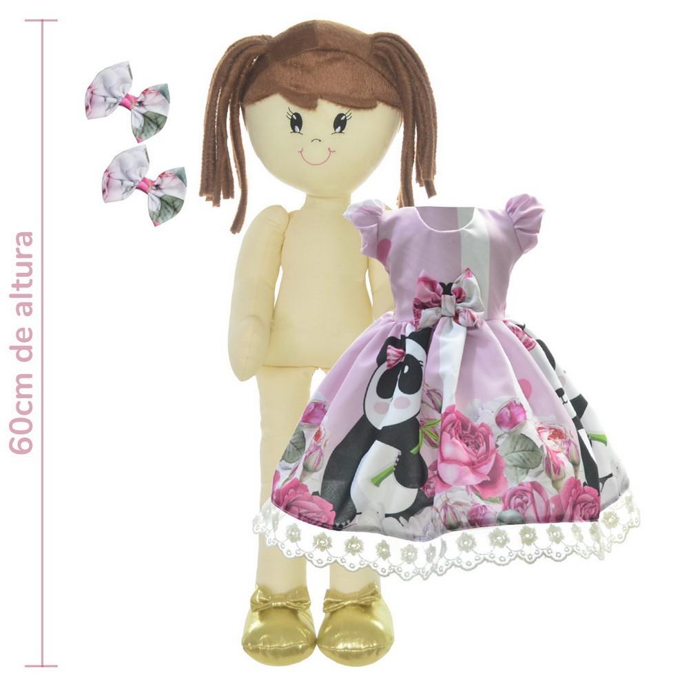 Boneca de Pano Mari com Roupa tema Panda Rosa