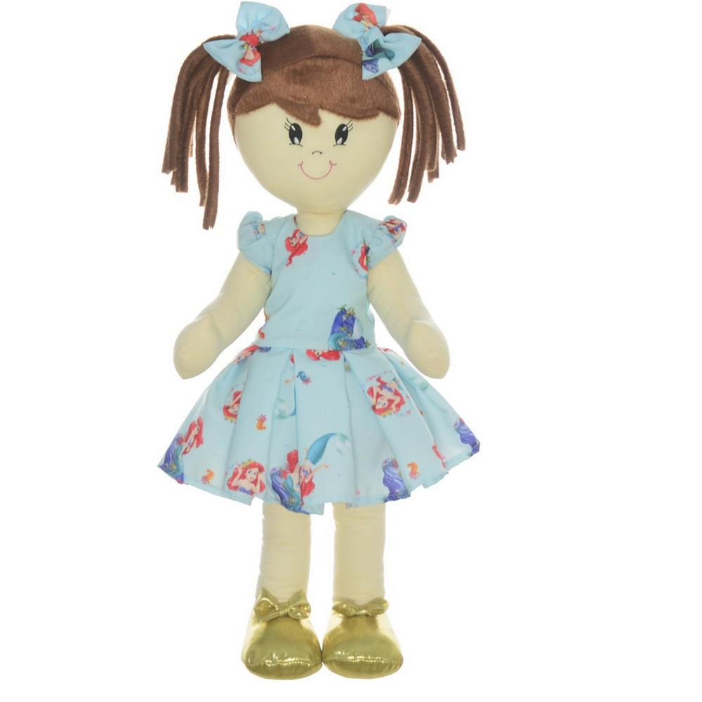Boneca de Pano Mari com Roupa tema pequena sereia Ariel