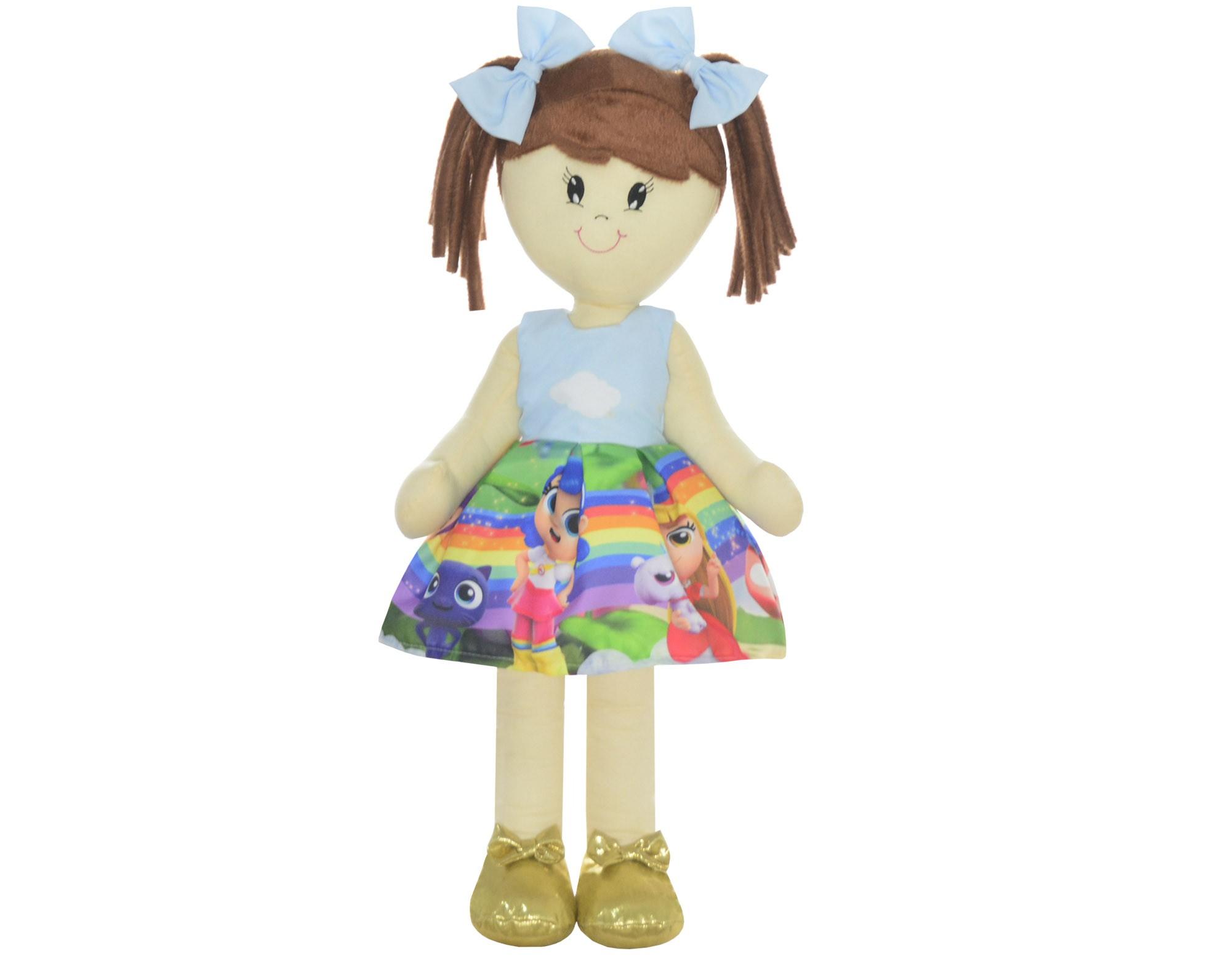 Boneca de Pano Mari com Roupa tema Vera e o Reino do Arco-íris