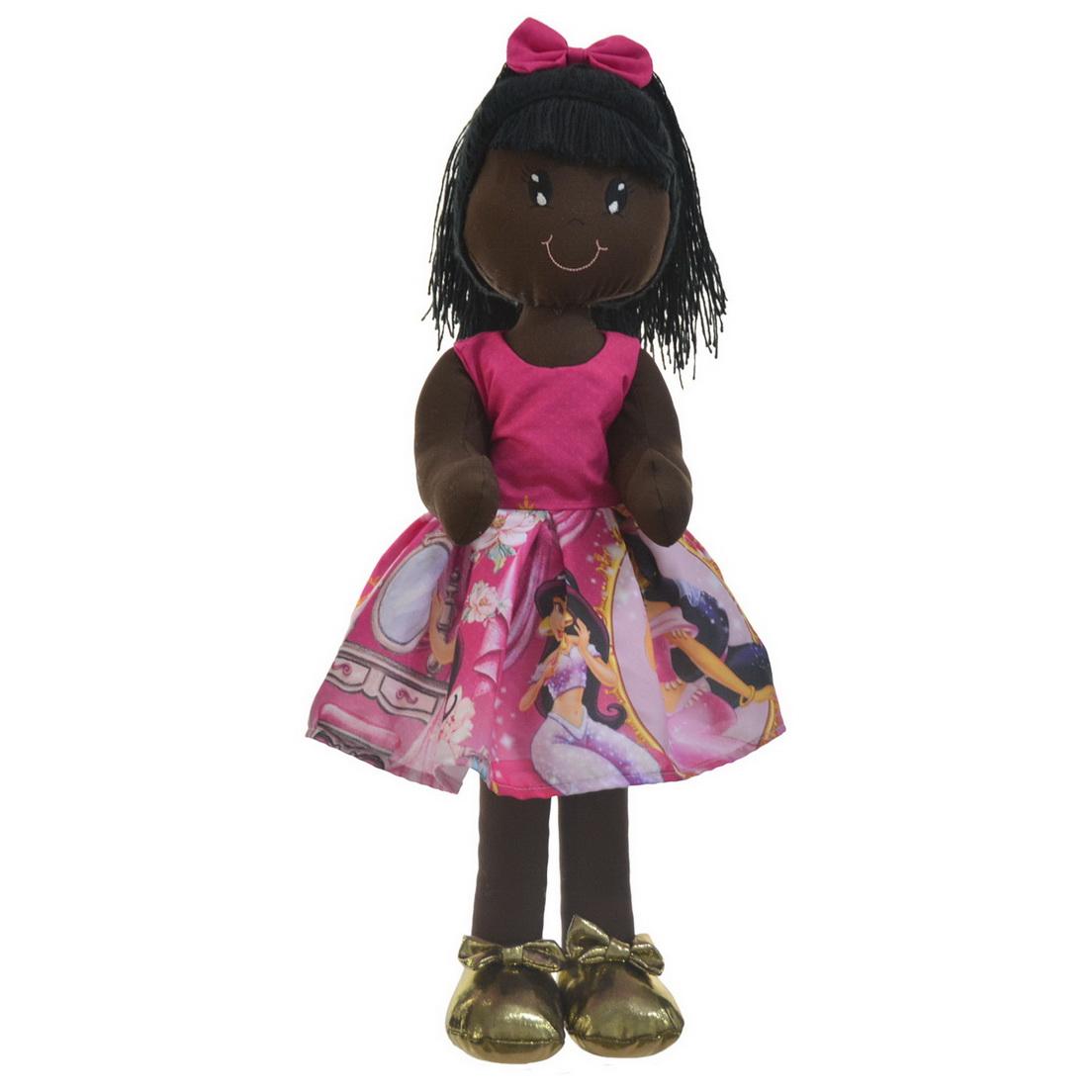 Boneca de Pano Negra Nina com Roupa tema Jasmine