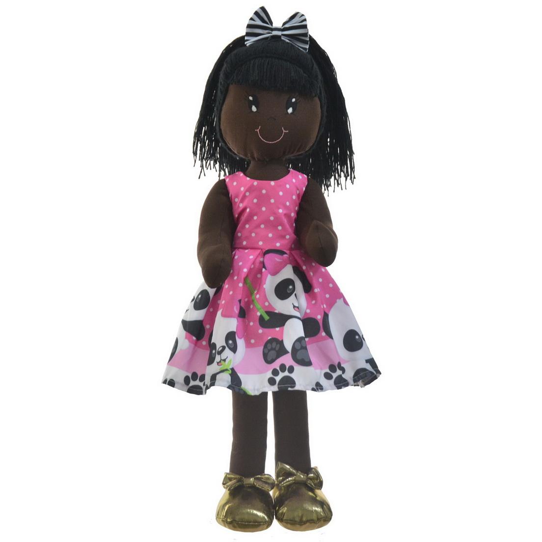 Boneca de Pano Negra Nina com Roupa tema Panda Rosa