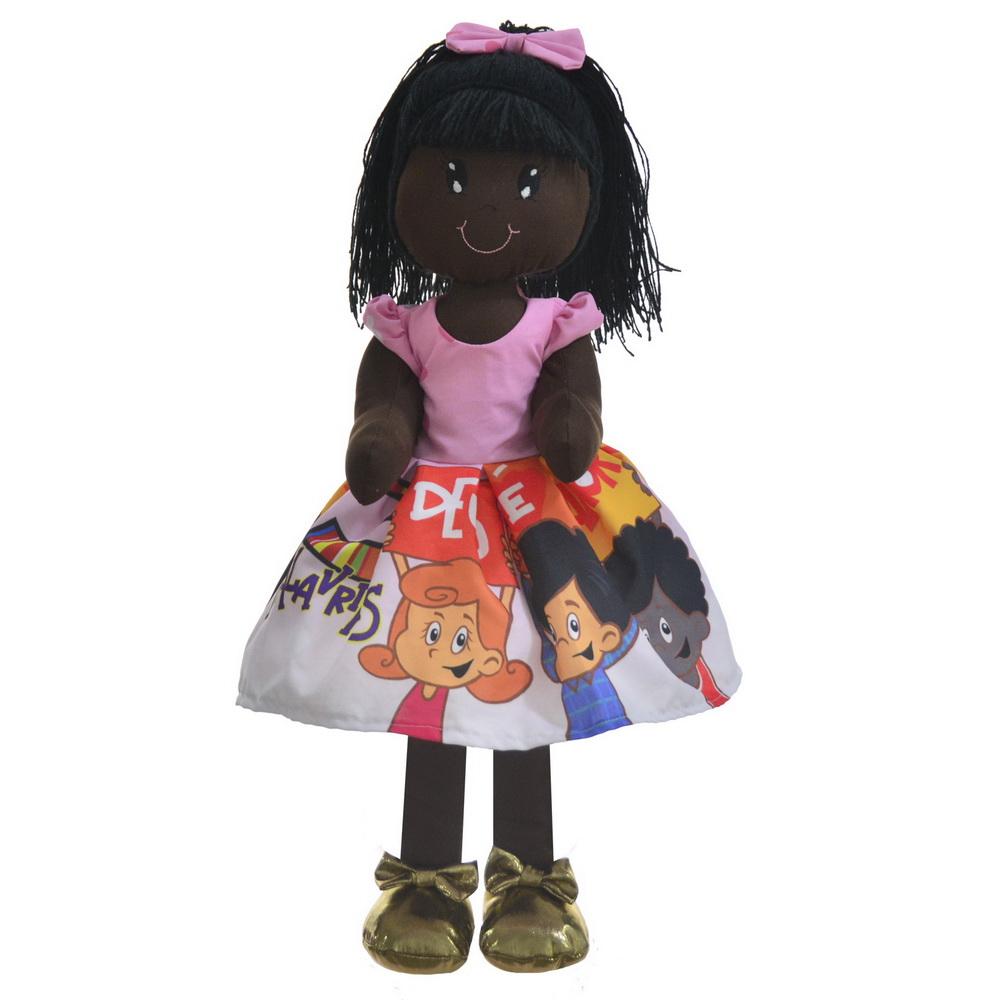 Boneca de Pano Nina com Roupa tema 3 Palavrinhas - Negra