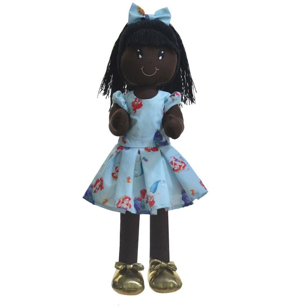 Boneca de Pano Nina com Roupa tema Pequena sereia Ariel - Negra