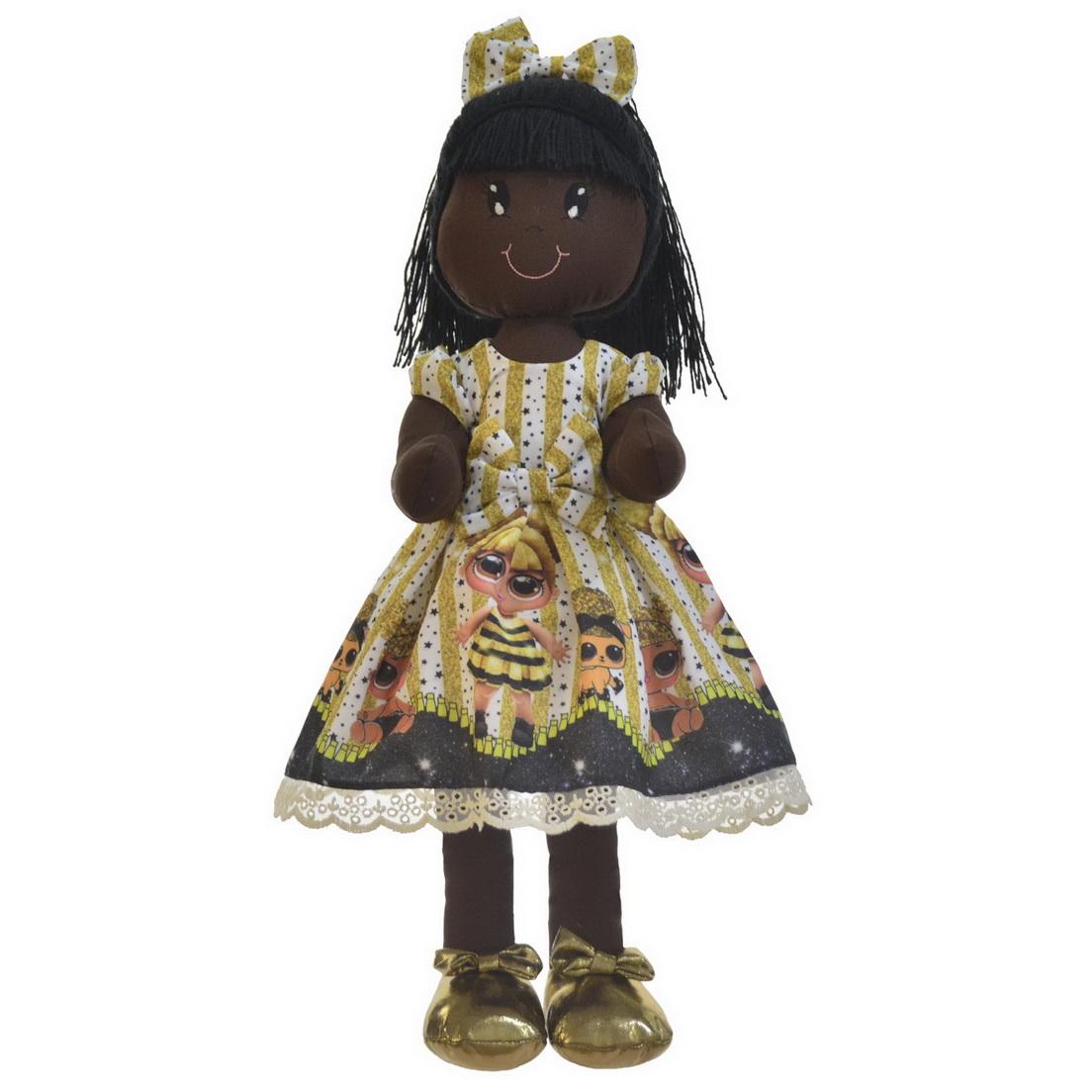Boneca de Pano Nina com Roupa tema Queen bee - Negra