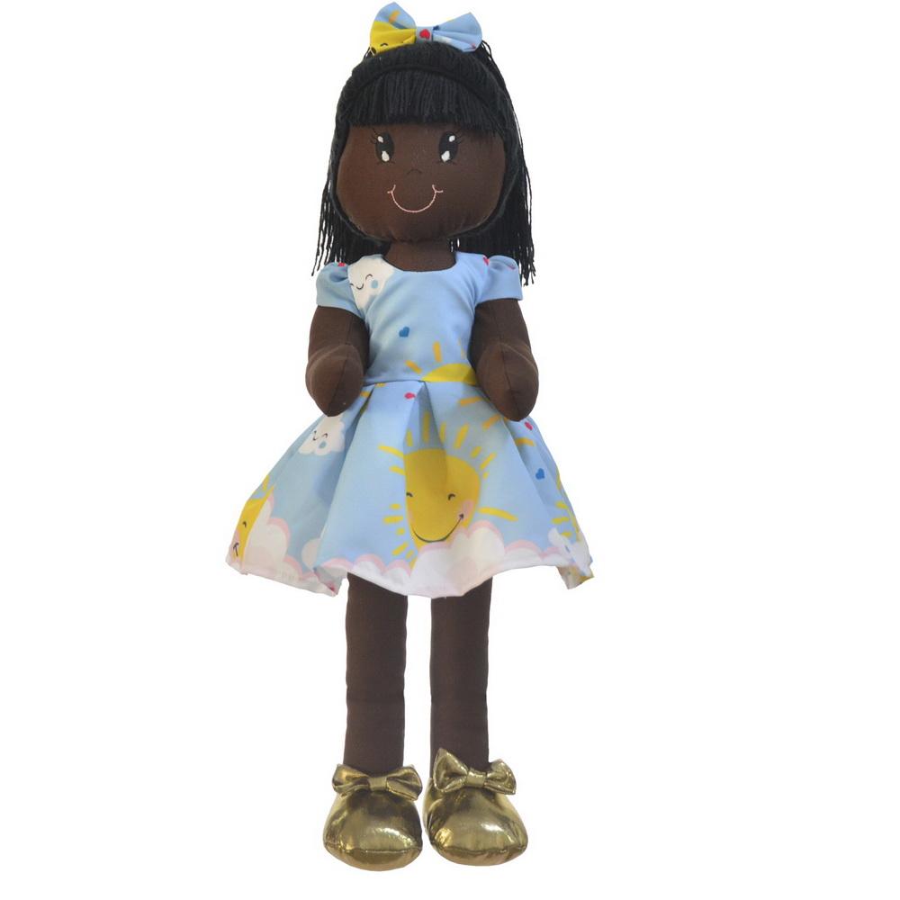 Boneca de Pano Nina com Roupa tema Raio De Sol e Chuvas de Amor - Negra