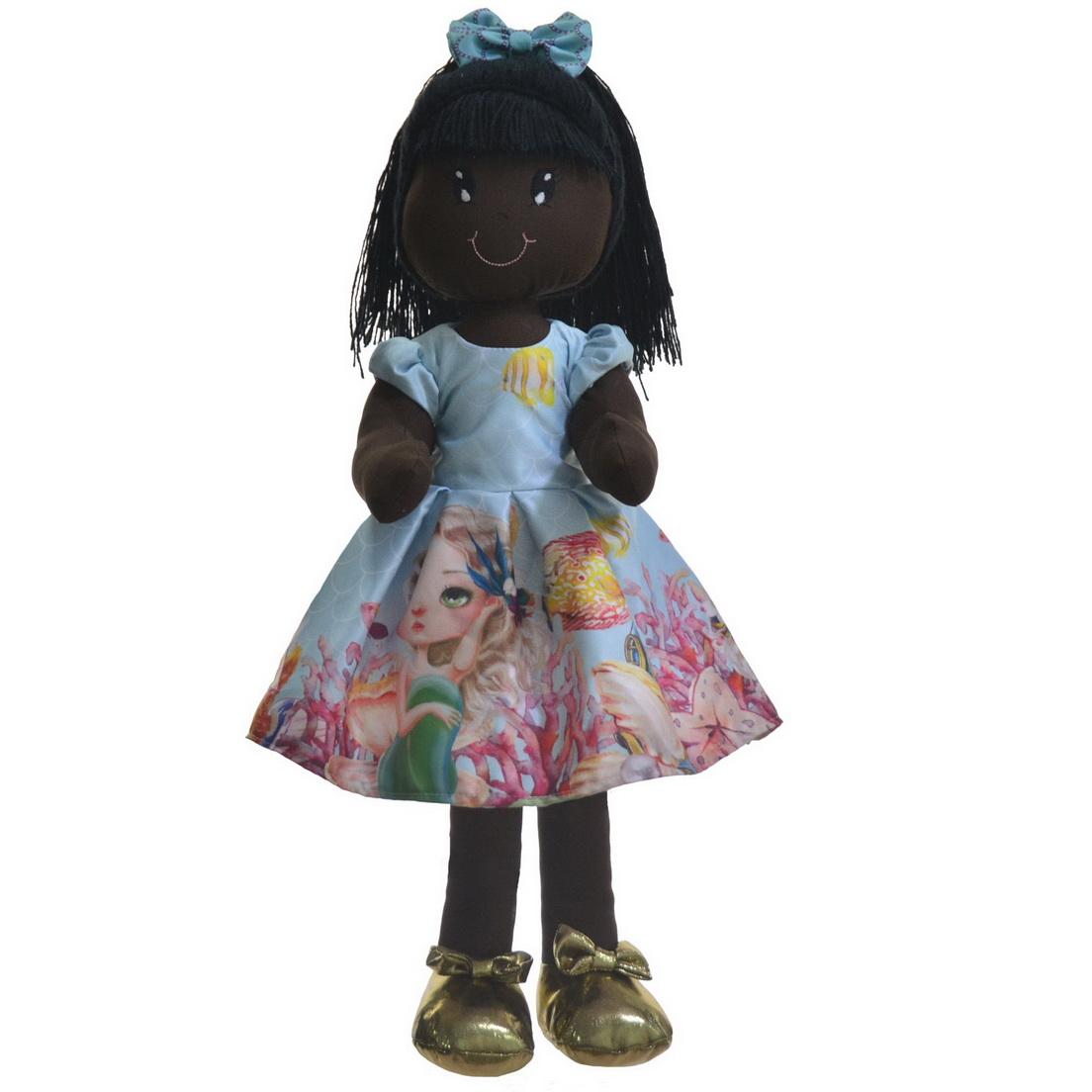 Boneca de Pano Nina com Roupa tema Sereia - Negra