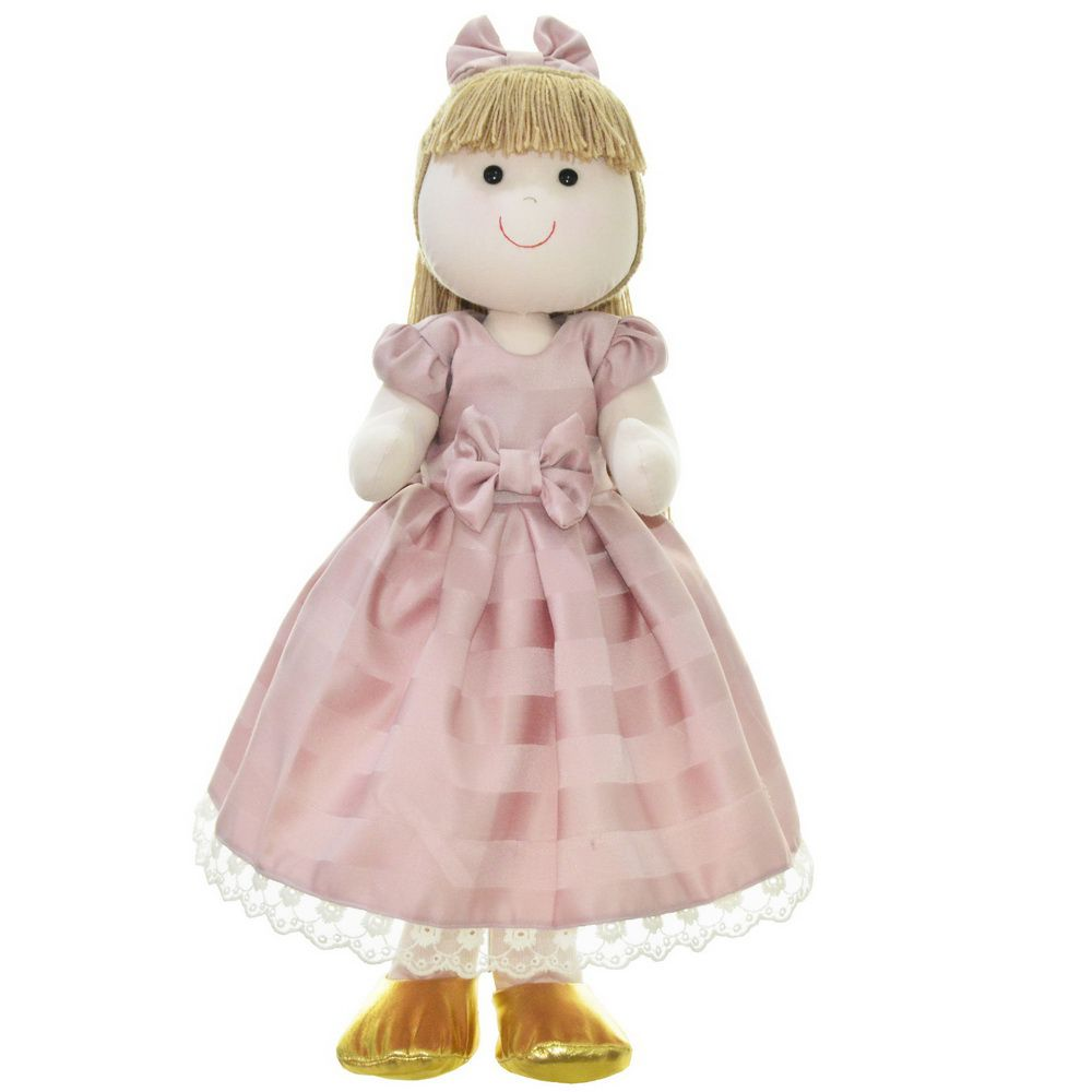 Boneca de Pano Pri com vestido na cor rosa seco