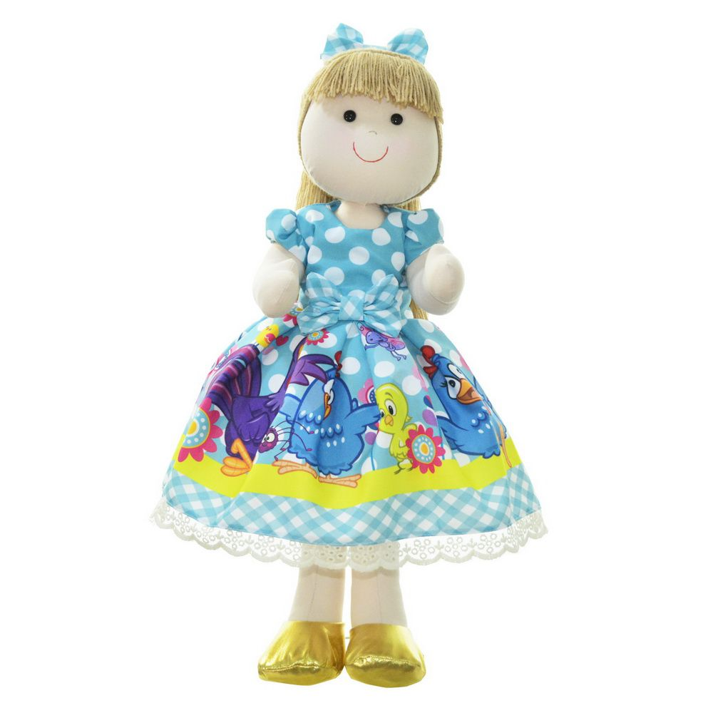 Boneca de Pano Pri com vestido no tema galinha pintadinha
