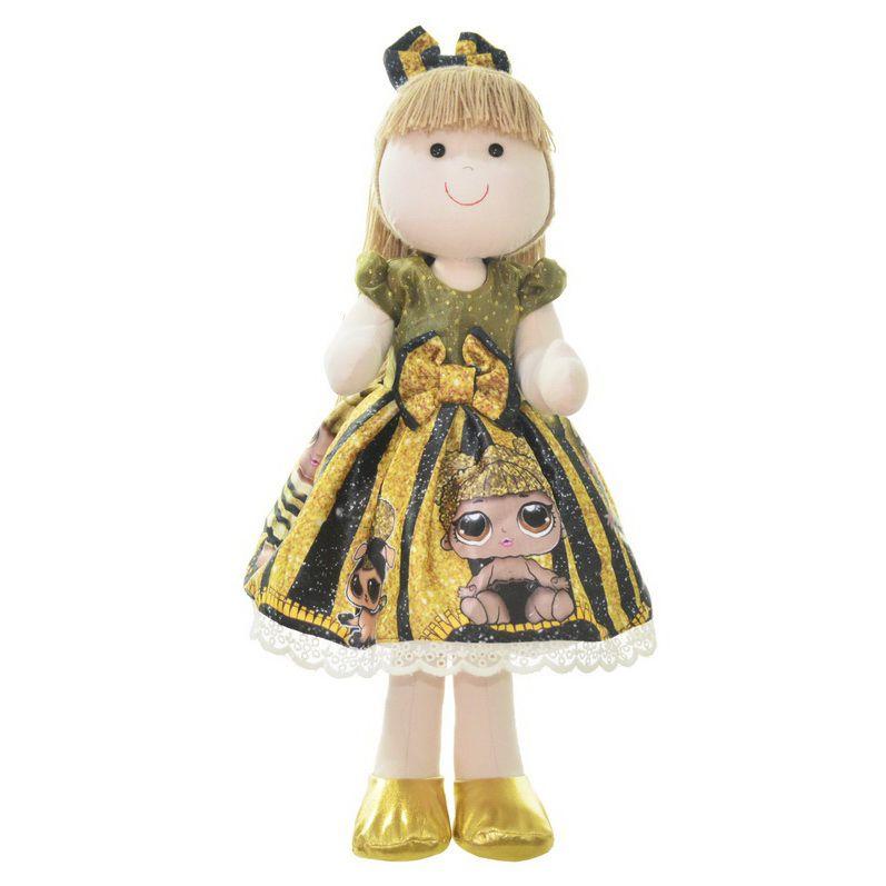 Boneca de Pano Pri com vestido no tema Lol Queen Bee abelhinha