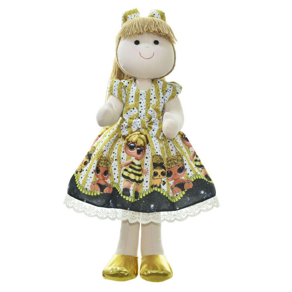Boneca de Pano Pri com vestido no tema Lol surprise queen bee