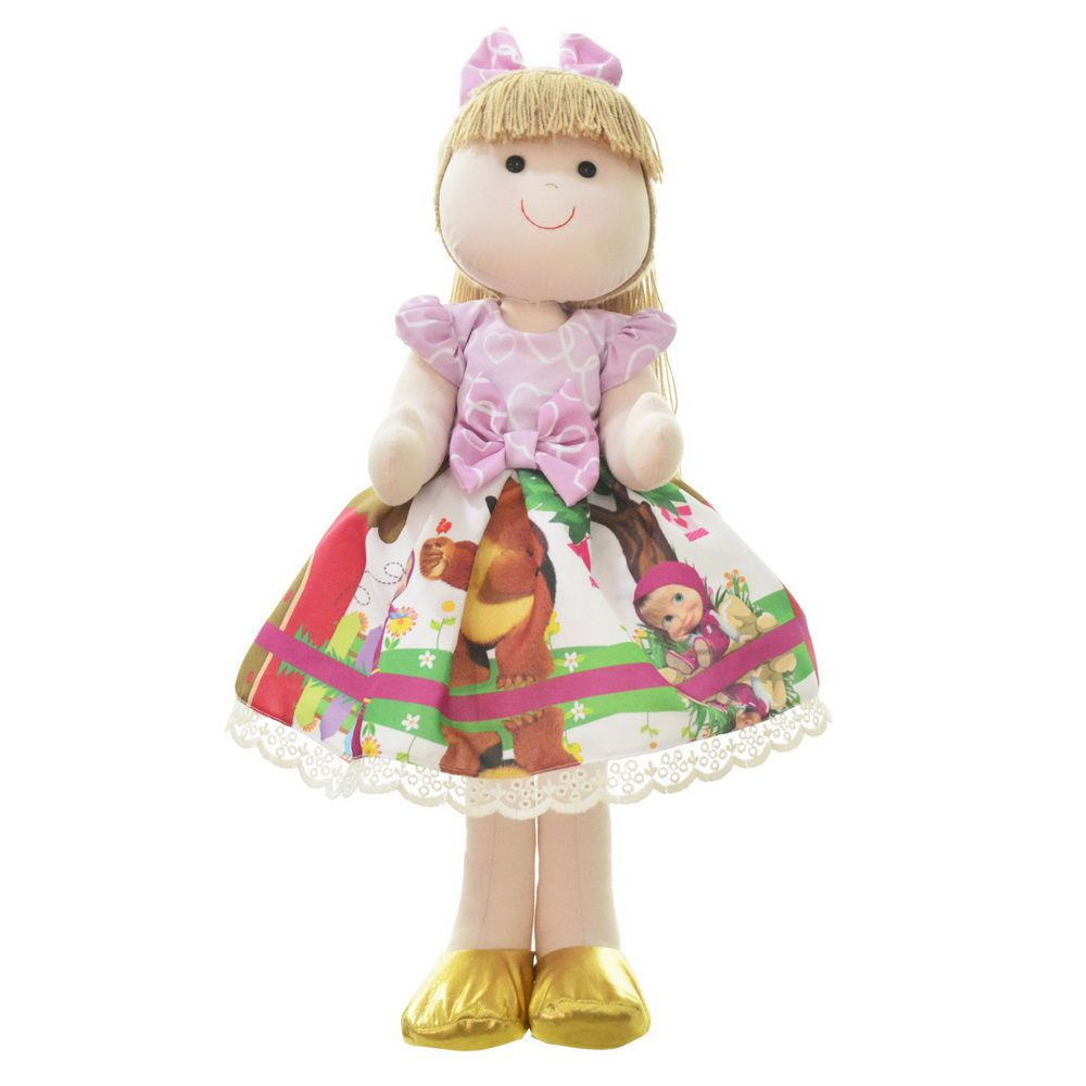 Boneca de Pano Pri com vestido no tema Masha e o Urso