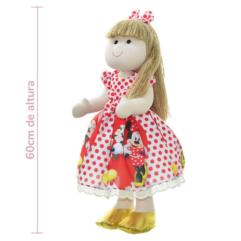 Boneca de Pano Pri com vestido no tema Minnie e Mickey