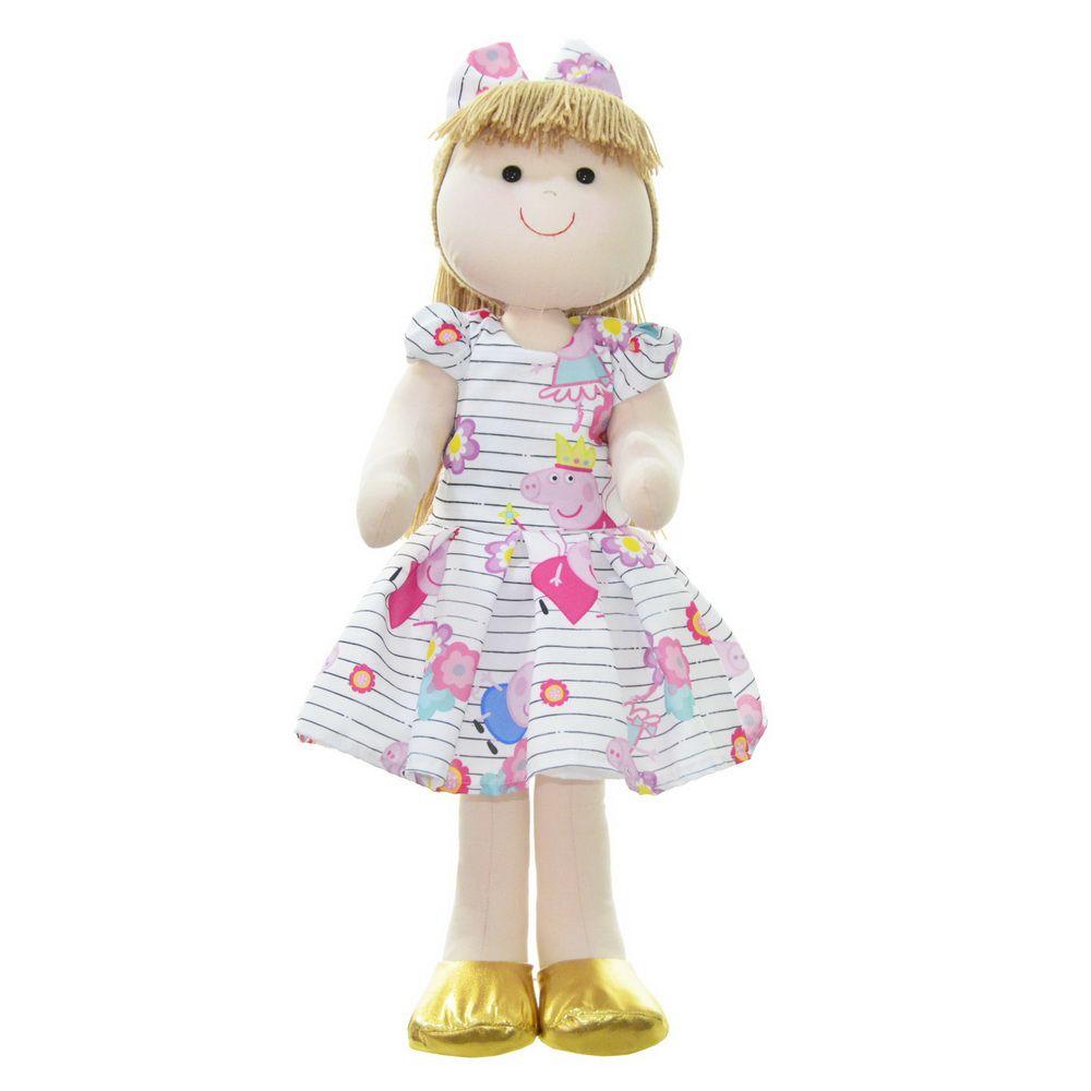Boneca de Pano Pri com vestido no tema Peppa Pig bailarina