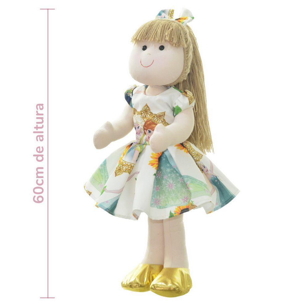 Boneca de Pano Pri com vestido no tema rainha da neve Elsa - Frozen Fever