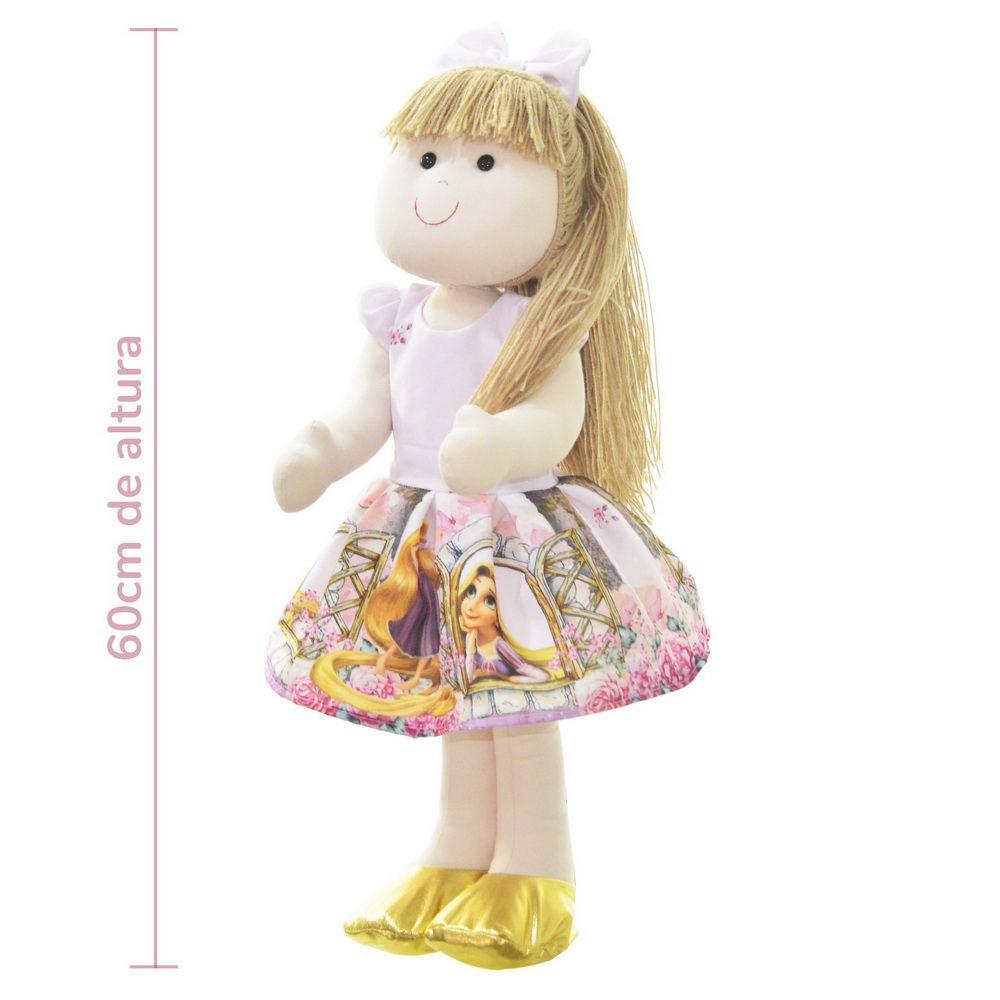Boneca de Pano Pri com vestido no tema Rapunzel enrolados da Disney