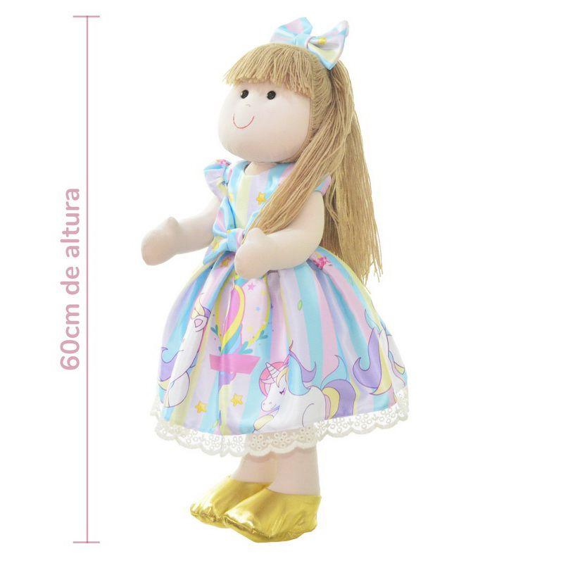 Boneca de Pano Pri com vestido no tema unicórnio realeza