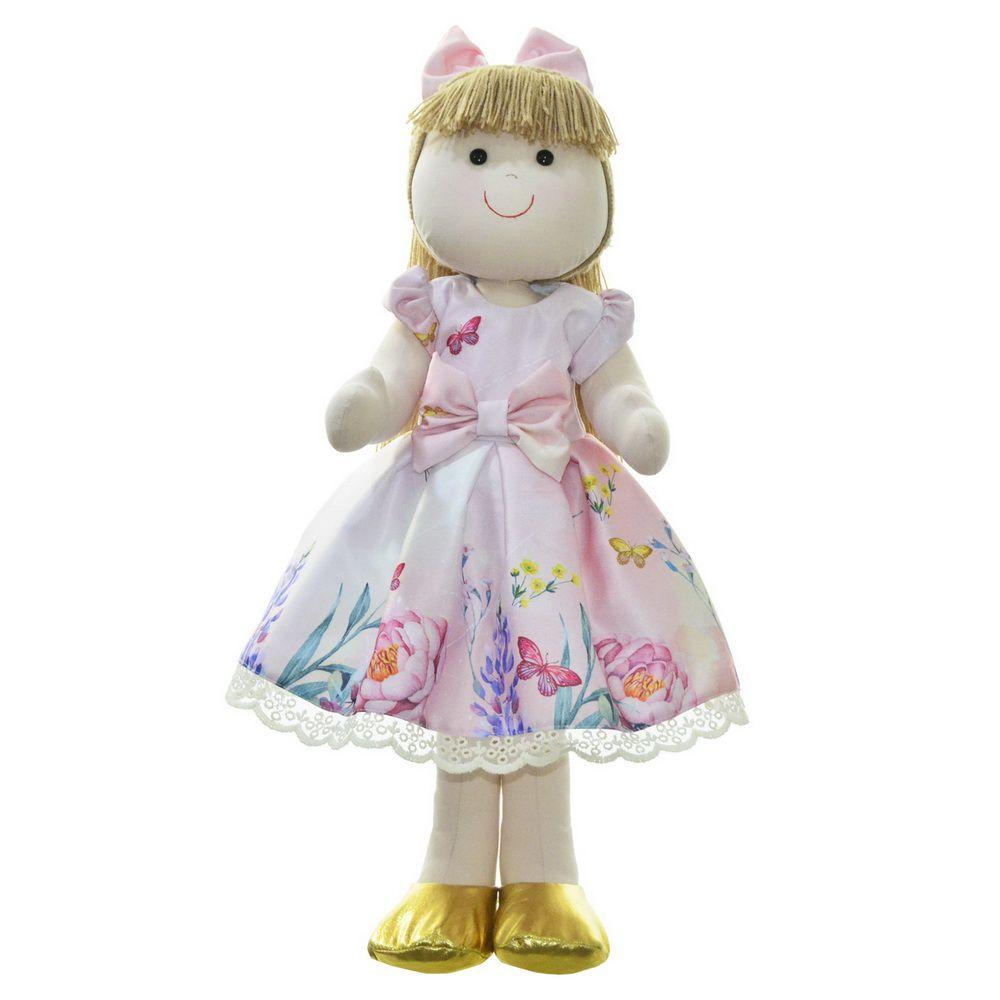 Boneca de Pano Pri com vestido rosa floral jardim encantado com borboletas