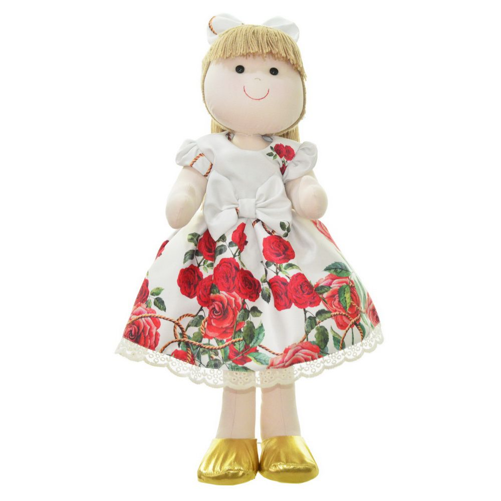 Boneca de Pano Pri com vestido tema floral bege off com rosas vermelhas
