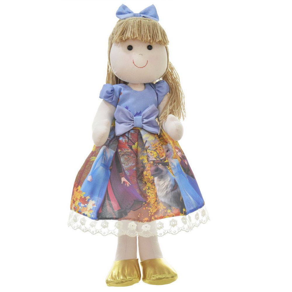 Boneca de Pano Pri com vestido tema Frozen 2 - Elsa e Anna
