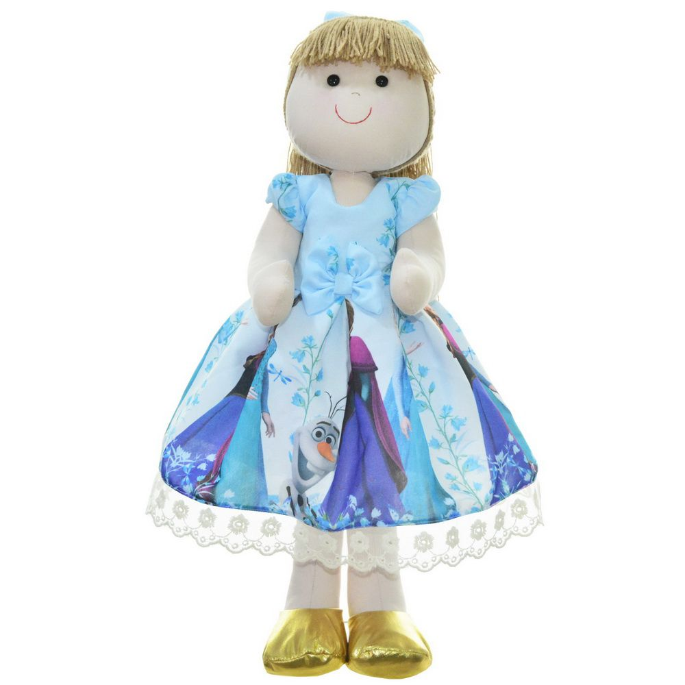 Boneca de Pano Pri com vestido tema Frozen Elsa e a Anna