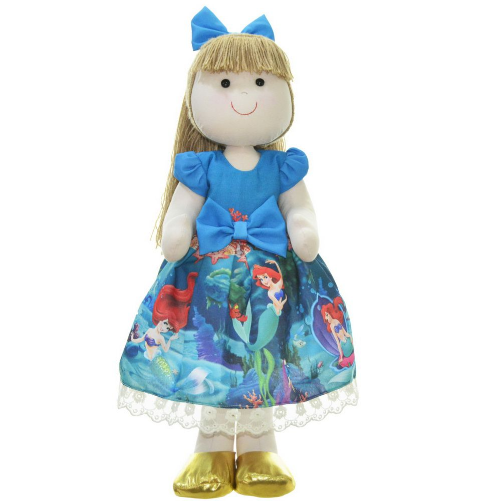 Boneca de Pano Pri com vestido tema pequena sereia Ariel